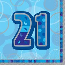 "16 Happy 21st Birthday Blue Sparkle 6.5"" Party Tableware Napkins"