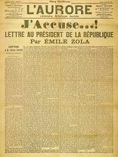 J'accuse Emile Zola L'Aurore open letter 01-1898 print