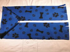 Paw Prints and Bones on Blue Fleece Scarf