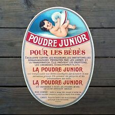 Vintage Original POUDRE JUNIOR FRENCH BABY POWDER Poster 1910s NOS Unused