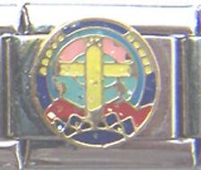 Italian Charm Cross Stain Glass Window Church Faith Rou