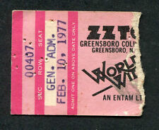 Original 1977 Zz Top Concert Ticket Stub Greensboro Nc World Wide Texas Tour