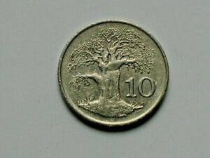Zimbabwe 1989 (Africa) 10 CENTS Coin with Tree & Pre-Hyperinflation Issue
