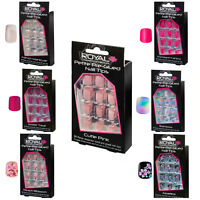 ROYAL PETITE SIZE PRE-GLUE NAIL TIPS 24 FALSE FAKE NAILS CHOICE OF 7 DESIGN