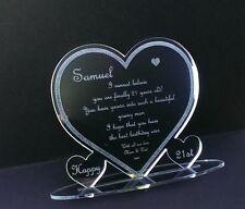21st Son  Age Birthday Laser Engraved Gift Present Heart Cake Topper