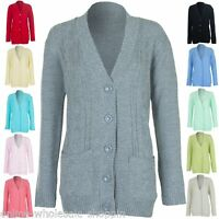Womens Casual Winter Cable Knit Ladies 5 Buttons Cardigan Jumper Size S M L XL 8