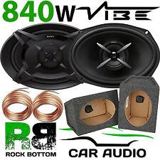 SONY 840 WATTS a Pair CAR VAN 6x9 Speakers & GREY MDF Pod Boxes 10m Speaker Wire