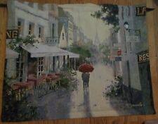EUROPEAN CAFE DE VILLE  FRENCH CAFE PARIS SHOPS ART TAPESTRY WALL HANGING 42x35