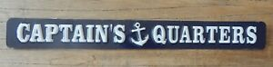 "RUSTIC DISTRESSED METAL SIGN "" CAPTAIN'S QUARTERS "" NAUTICAL SEA BOAT UK SELLER"