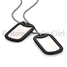 FREE Engraving Stainless Steel Dog Tag Military Pendant Necklace for Men Boys