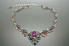 Vintage DeNicola rhinestone red poured glass necklace