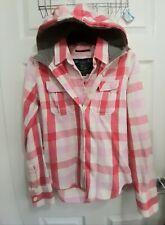 Ladies medium Superdry red Hooded checked Shirt, top, jacket, denim