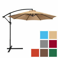 BCP 10ft Offset Hanging Market Patio Umbrella w/ Tilt Adjustment, Hand Crank