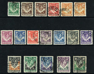 NORTHERN RHODESIA 1938-52 KG VI SET TO 10s GOOD TO FINE USED SG 25 - 44