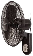"Schallen 16"" Oscillating Wall Mounted Air Cool Fan with Timer & Remote - Black"