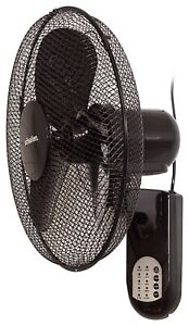 """Schallen 16"""" Oscillating Wall Mounted Air Cool Fan with Timer & Remote - Black"""