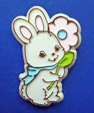BUY1&GET1@50%~Hallmark PIN Easter BUNNY Rabbit w PINK Flower Vtg Holiday Brooch
