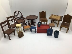 Huge Lot of Vintage Dollhouse Furniture 16 Pieces- tables, Chairs, Radio, Toy Bo