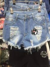 LADIES Shorts Assorted Design (BLUE DENIM TATTERED) EXTRA LARGE