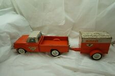 VINTAGE NYLINT TRUCK FORD UHAUL PICK UP AND TRAILER 1960 PRESSED STEEL TOY d