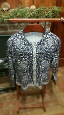 Women's J. McLaughlin blue & white cardigan sweater with gold buttons, Size L