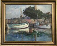 Fischerboote im Ostseehafen Bornholm Dänemark C. Fagh signiert 53 x 64 cm