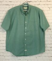Eddie Bauer Mens Dress Shirt Size Large Green Chambray Short Sleeve Button Up