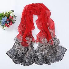 Rouge & noir dessin fleur lit imprimer lady femmes châle écharpe en mousseline de soie écharpe (F3-03)