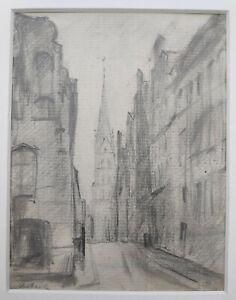 """Kliefert, Erich (1893Berlin–1994Stralsund) """"Straßenansicht in Lübeck mit Kirche"""""""