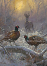 NEW Pheasant and Deer Christmas Cards pack of 10 by John Trickett. C508X