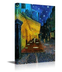 """The Cafe Terrace at Night Van Gogh- Oil Reproduction Wall Art Canvas- 24"""" x 36"""""""