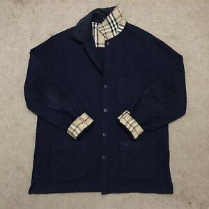BURBERRY LONDON cardigan sweater nova check LAMBS'WOOL mens blue navy size 8 4XL