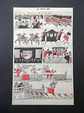 Le Petit Roi France - The Little King - antique colour cartoon print c. 1940
