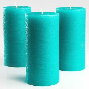 Turquoise/Teal Unscented Pillar Candles 3 x 6 Inch Set of 3 Fragrance-Free Decor