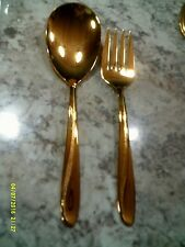 """IMPERIOR USA"" Gold Plated 2 pc Set of Serving Fork and Spoon Flatware"