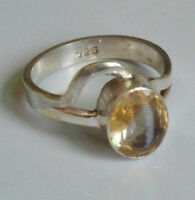 Sterling Silver Ethnic Asian Vintage Style Yellow Quartz Ring Size Q 1/2 Gift