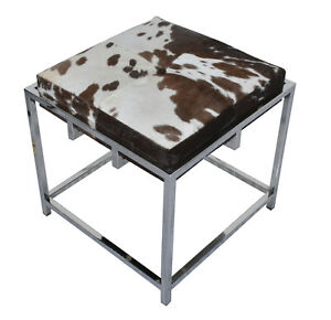 Handmade Black and White Hairy Leather with Stainless Steel Base Stylish Bench