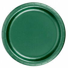 """24 Plates 9"""" Paper Dinner Lunch Plates Wax Coated - Hunter Green"""