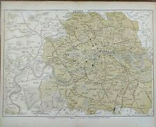"Vintage 1896 LONDON ENGLAND Map 13""x10"" ~ Old Antique Original WINCHESTER PALACE"