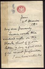 1882 PARIS, Rare letter FIELD MARSHAL SIR GARNET WOLSELEY re EGYPTIAN CAMPAIGN