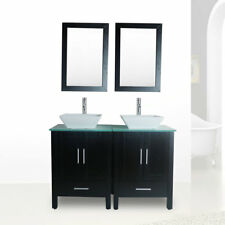 Black 48'' Bathroom Vanity Cabinet Double Sink Glass Top Mirror Faucet and Drain