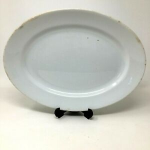 """Antique 12"""" White Ironstone Platter Farmhouse Country Cottage Rustic Kitchen Din"""