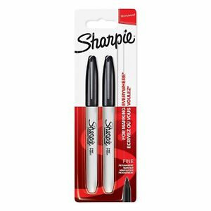 Sharpie Permanent Markers, Fine Tip - Black, Pack of 2