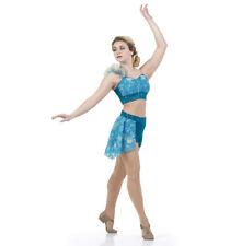 Adult XL Blue Contemporary Escape Ballet Lyrical Costume Dance Sequin Acro
