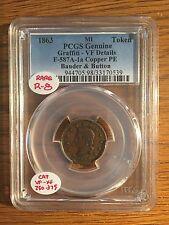 1863 Mi Token Bauder & Button F-587A-1a Copper Pe Pcgs Genuine Graffiti Vf R-8