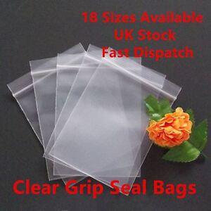 Grip Seal Clear Self Resealable Press Polythene Zip Lock Plastic Bag 18 Sizes CS