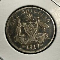 1917 AUSTRALIA ONE SHILLING SILVER COIN BETTER GRADE