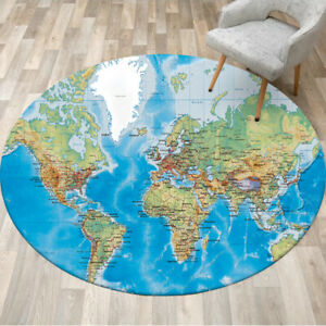 Round Carpet World Map Home Decor Rugs Bedroom Yoga Area Rug Kid Play Floor Mat