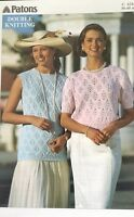"Patons DK Knitting Pattern ladies Short Sleeve Jumper Size 30/40"" Chest"