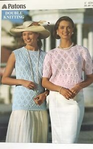 """Patons DK Knitting Pattern ladies Short Sleeve Jumper Size 30/40"""" Chest"""